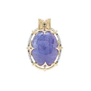 Tanzanite Pendant with Blue Diamond in 9K Gold 13.58cts
