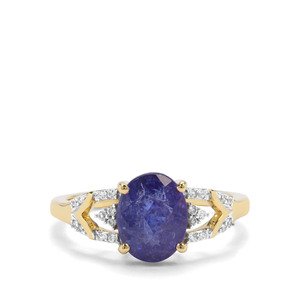 AAA Tanzanite & White Zircon 9K Gold Ring ATGW 2.65cts