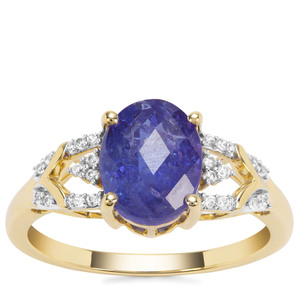 AAA Tanzanite Ring with White Zircon in 9K Gold 2.65cts