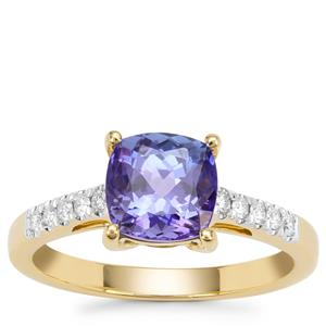 AAA Tanzanite Ring with Diamond in 18K Gold 1.78cts