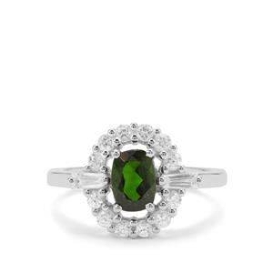 Chrome Diopside & White Zircon Sterling Silver Ring ATGW 1.90cts