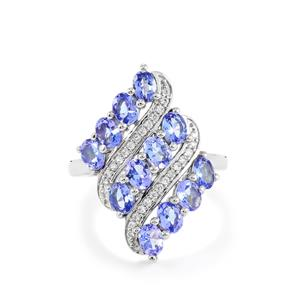AA Tanzanite Ring with White Zircon in Platinum Plated Sterling Silver 2.30cts