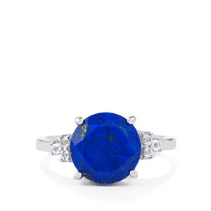 Sar-i-Sang Lapis Lazuli Ring with White Topaz in Sterling Silver 3.48cts