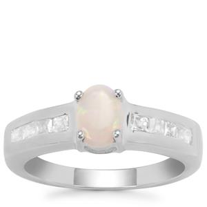 Coober Pedy Opal Ring with White Zircon in Sterling Silver 1.01cts