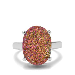 6.74ct Rose Gold Drusy Sterling Silver Ring