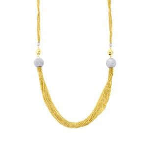 "18"" Two Tone Gold Plated Altro Diamond Cut Bunch Necklace 12.44g"