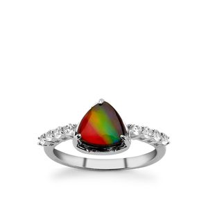 AA Ammolite & White Zircon Sterling Silver Ring (7.50x7.50mm)
