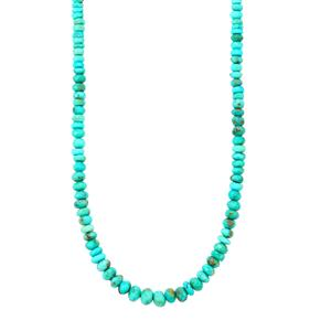 Sleeping Beauty Turquoise Graduated Bead Necklace with Magnetic Lock in Sterling Silver 60cts