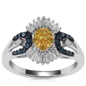 Blue, Yellow Diamond Ring with White Diamond in Sterling Silver 0.52ct