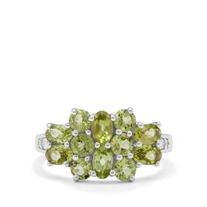 Red Dragon Peridot & White Zircon Sterling Silver Ring ATGW 2.75cts