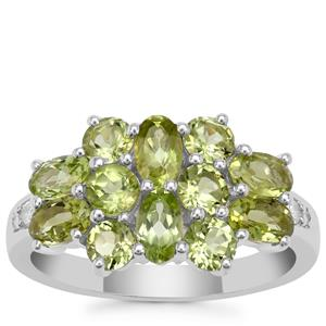 Red Dragon Peridot Ring with White Zircon in Sterling Silver 2.75cts