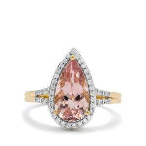 Cherry Blossom™ Morganite Ring with Diamond in 18K Gold 2.55cts