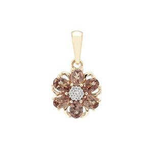 Bekily Colour Change Garnet Pendant with White Zircon in 9K Gold 1.28cts