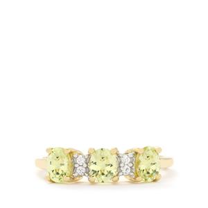 Brazilian Chrysoberyl & White Zircon 10K Gold Ring ATGW 1.28cts