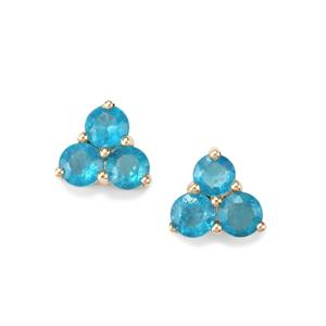 1.47ct Neon Apatite 10K Gold Earrings