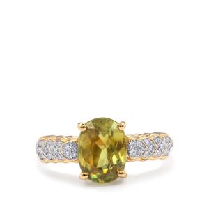 Ambilobe Sphene Ring with Diamond in 18K Gold 2.65cts