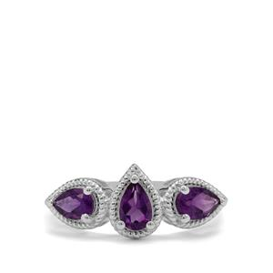 Zambian Amethyst Ring in Sterling Silver 1.10cts