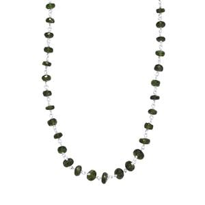 29.50ct Chrome Diopside Sterling Silver Graduated Bead Necklace
