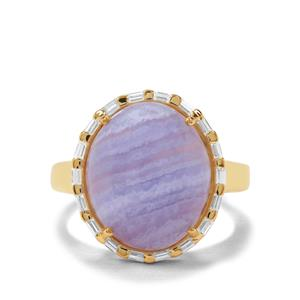 Blue Lace Agate & White Zircon Midas Ring ATGW 10.10cts