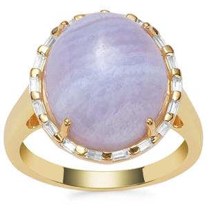 Blue Lace Agate Ring with White Zircon in Gold Plated Sterling Silver 10.10cts