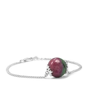 Ruby-Zoisite Bracelet in Sterling Silver 13.58cts
