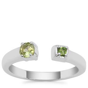 Red Dragon Peridot Ring with Chrome Diopside in Sterling Silver 0.35ct