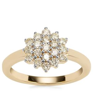 Natural Yellow Diamond Ring in 18k Gold 0.59ct