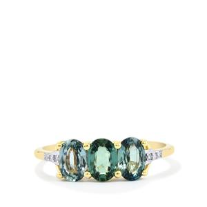 Ilakaka Natural Green Sapphire Ring with Diamond in 10k Gold 1.84cts