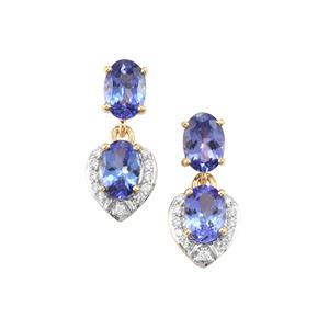 AA Tanzanite & Diamond 18K Gold Tomas Rae Earrings MTGW 2.50cts