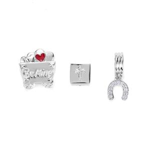 Sterling Silver Kama Charm Set of 3 ATGW 0.12cts