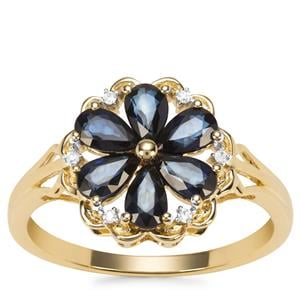 Sri Lankan Sapphire Ring with Diamond in 9K Gold 1.42cts