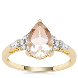 Cuprian Sunstone Ring with Diamond in 9K Gold 1.81cts