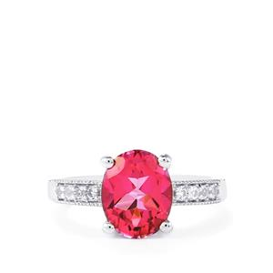 Mystic Pink Topaz Ring with White Topaz in Sterling Silver 3.18cts