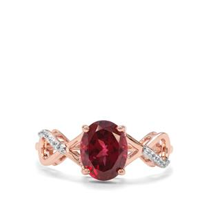 Mahenge Garnet & White Zircon 9K Rose Gold Ring ATGW 2.44cts