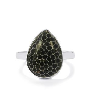 Fossil Black Coral Ring in Sterling Silver 8.24cts