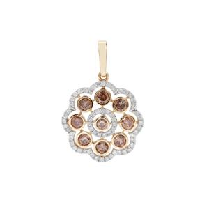 1ct Champagne & White Diamond 9K Gold Tomas Rae Pendant