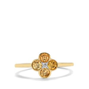 1/2ct Natural Coloured & White Diamond 18K Gold Ring