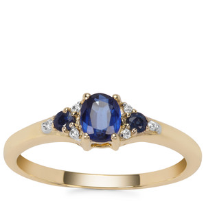 Daha Kyanite, Thai Sapphire Ring with White Zircon in 9K Gold 0.65ct