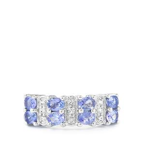 AA Tanzanite & White Topaz Sterling Silver Ring ATGW 1.69cts