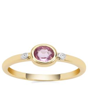 Sakaraha Pink Sapphire Ring with White Zircon in 9K Gold 0.36ct