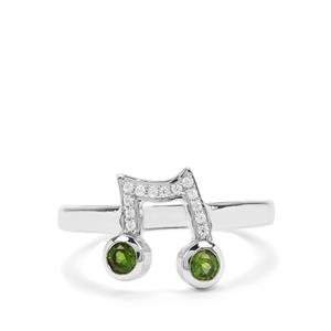Chrome Diopside & White Zircon Sterling Silver Music Note Ring ATGW 0.38cts
