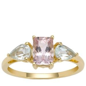 Cherry Blossom™ Morganite Ring with Aquaiba™ Beryl in 9K Gold 1.55cts