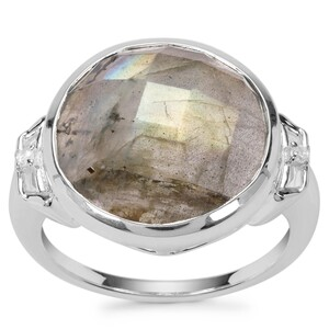 Labradorite Ring with White Zircon in Sterling Silver 7.88cts