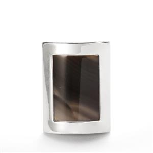 13.7cts Cappuccino Flint Sterling Silver Ring