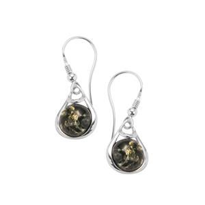 Baltic Green Amber Earrings in Sterling Silver (10mm)