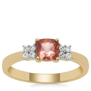 Rosé Apatite Ring with White Zircon in 9K Gold 0.95ct