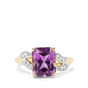 Moroccan Amethyst & White Zircon 9K Gold Ring ATGW 3.05cts