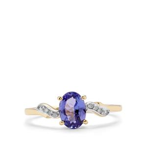 AA Tanzanite & Diamond 10K Gold Ring ATGW 0.96cts