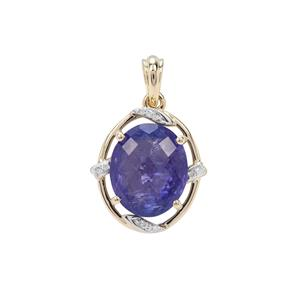 AAA 'Estate' Tanzanite Pendant with Diamond in 9K Gold 6.13cts