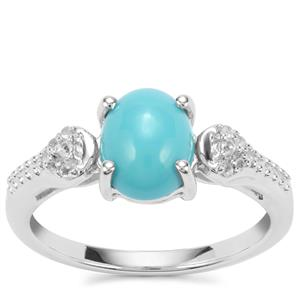Sleeping Beauty Turquoise Ring with White Topaz in Sterling Silver 1.75cts